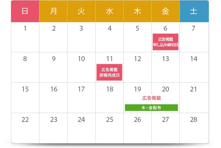 お申込みから掲載までのスケジュール例カレンダー